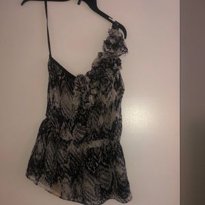 Size small black and white one shoulder top